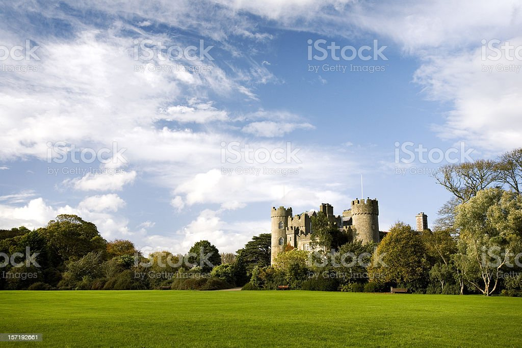 The tower and battlements of a traditional medieval European castle stock photo
