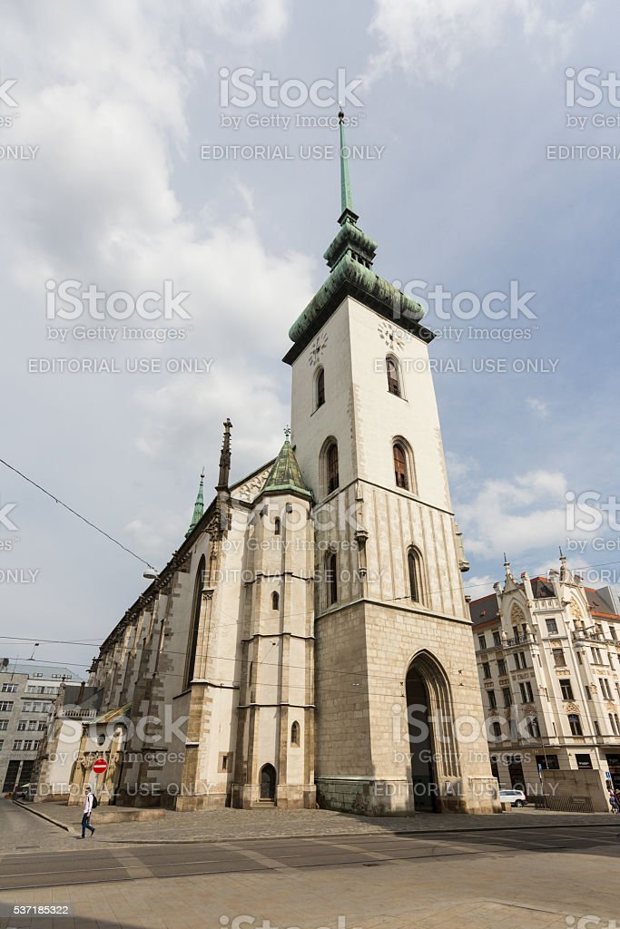 The tower Church of St Jacob (St James) Brno stock photo