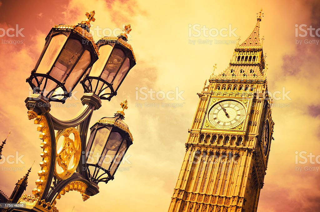 The tower of Big Ben in London - UK royalty-free stock photo