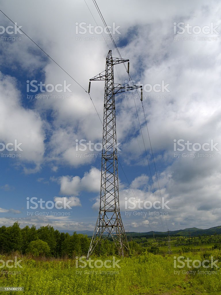 The Tower of electric power line at solar year day royalty-free stock photo