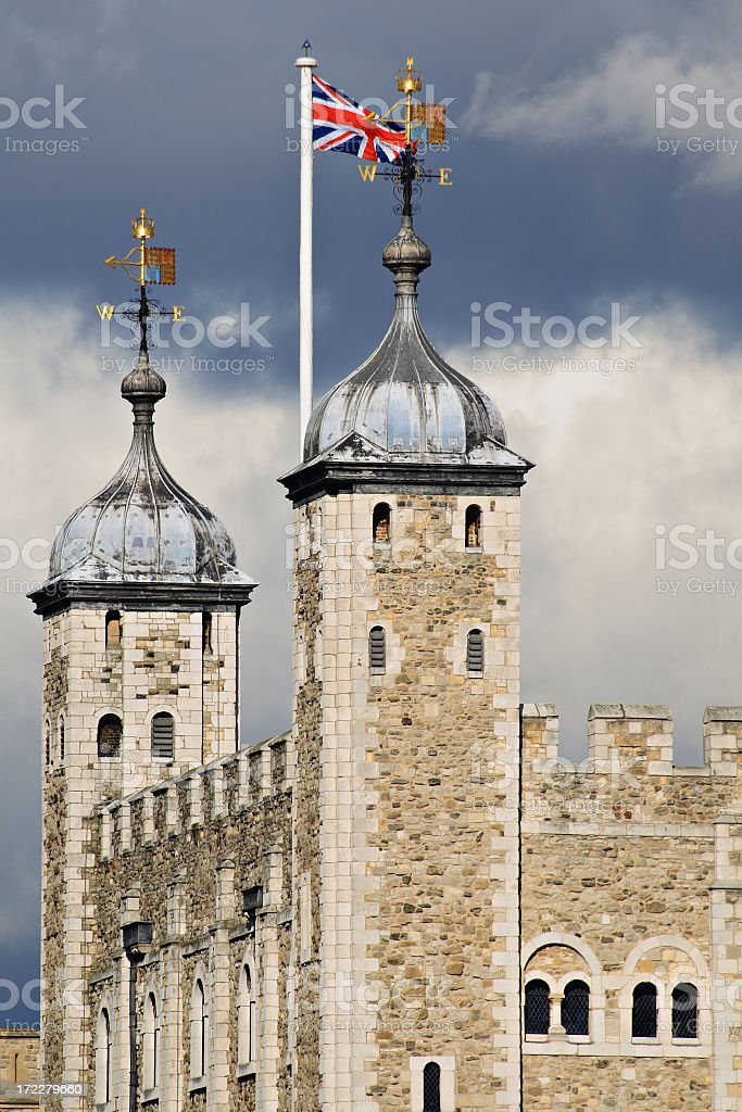 The Tower of London flying the British flag stock photo
