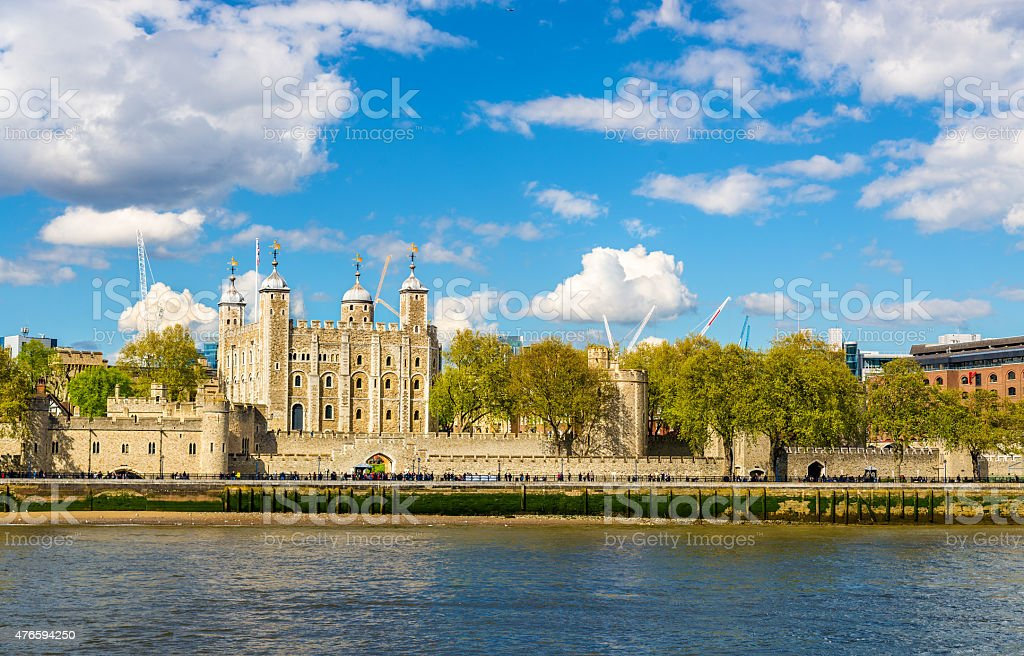 The Tower of London on a bank of the Thames stock photo