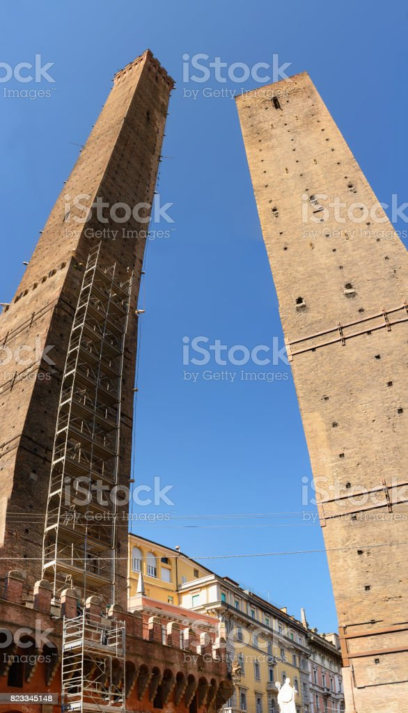 The tower of the Asinelli and Garisenda in Bologna (Italy) stock photo