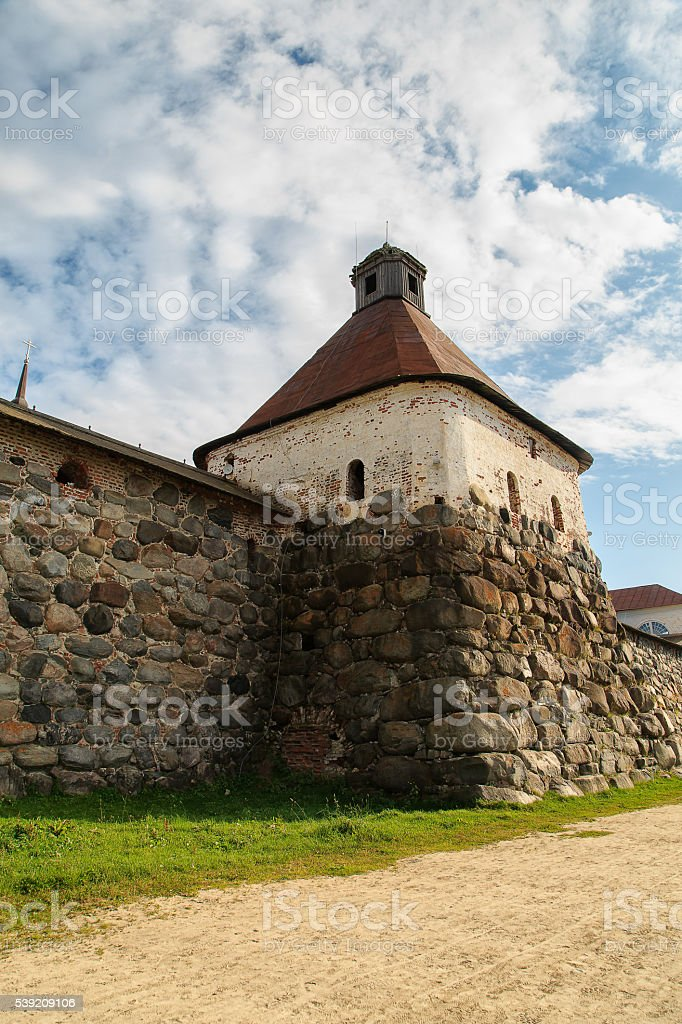 The tower of the Solovetsky Monastery. Russia, White sea stock photo