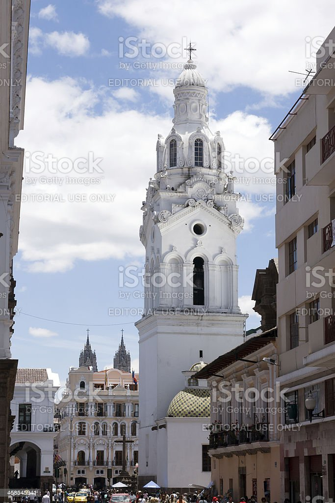 The tower of Torre de Catedral in Quito stock photo