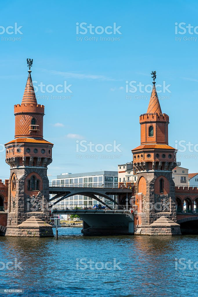 The towers of the Oberbaumbruecke in Berlin stock photo