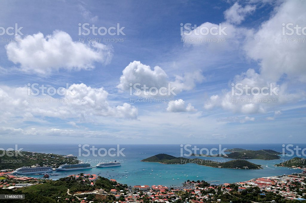 The town and shore of St. Thomas in the Virgin Islands royalty-free stock photo