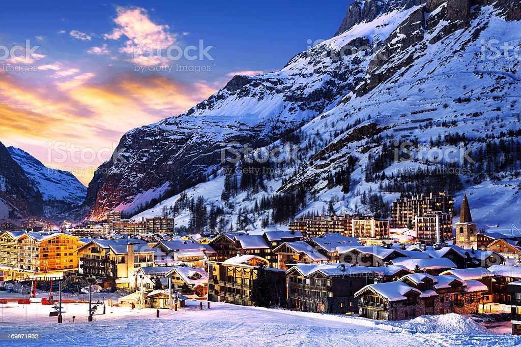 The town center of Val-d'isle at dawn stock photo