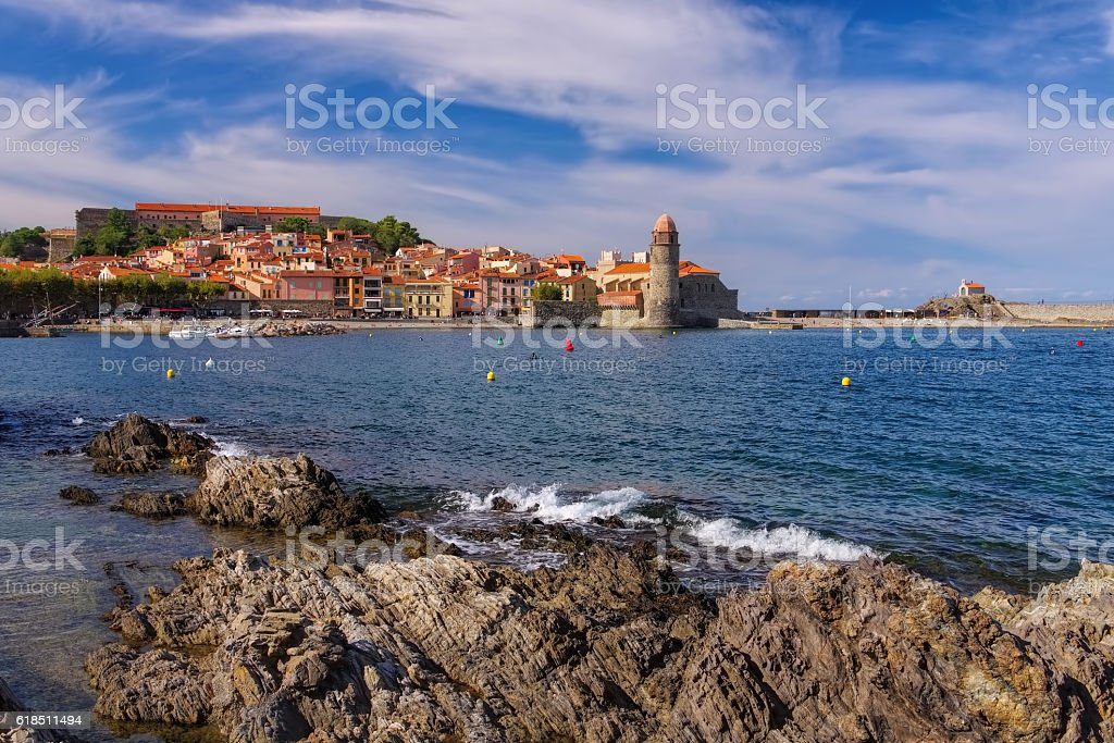 the town Collioure in France stock photo