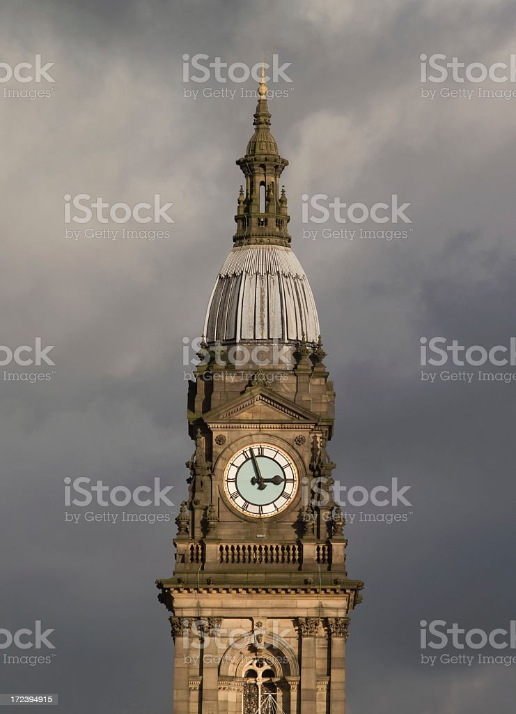 The town hall clock stock photo