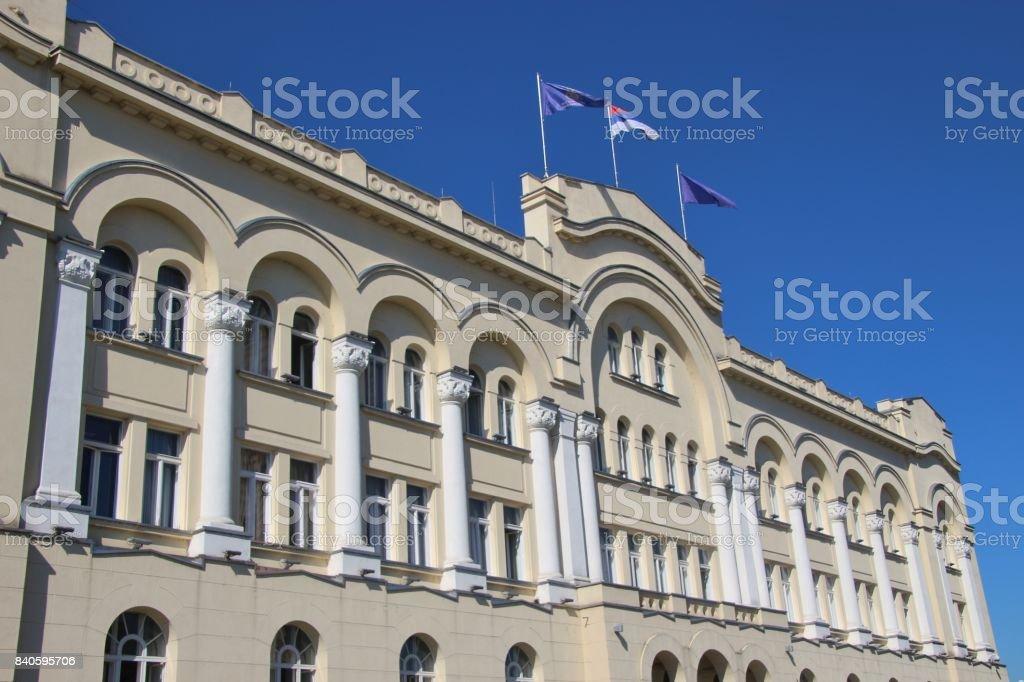 The town hall of Banja Luka, Bosnia and Herzegovina. stock photo