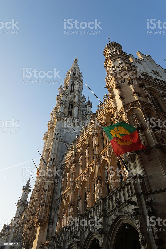 The Town Hall of Brussels, Grand Place royalty-free stock photo