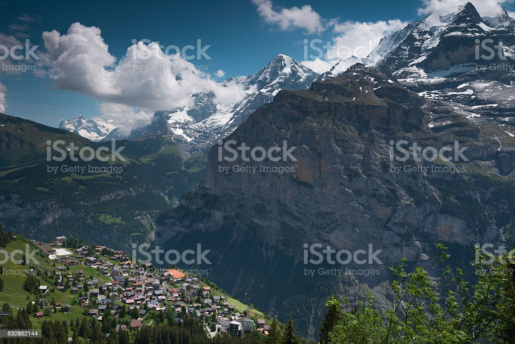 The Town Murren, Switzerland stock photo