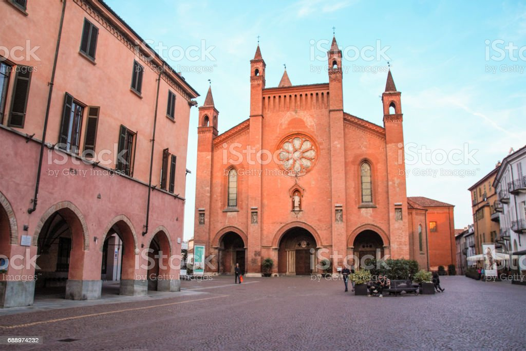 The town of Alba and its cathedral stock photo