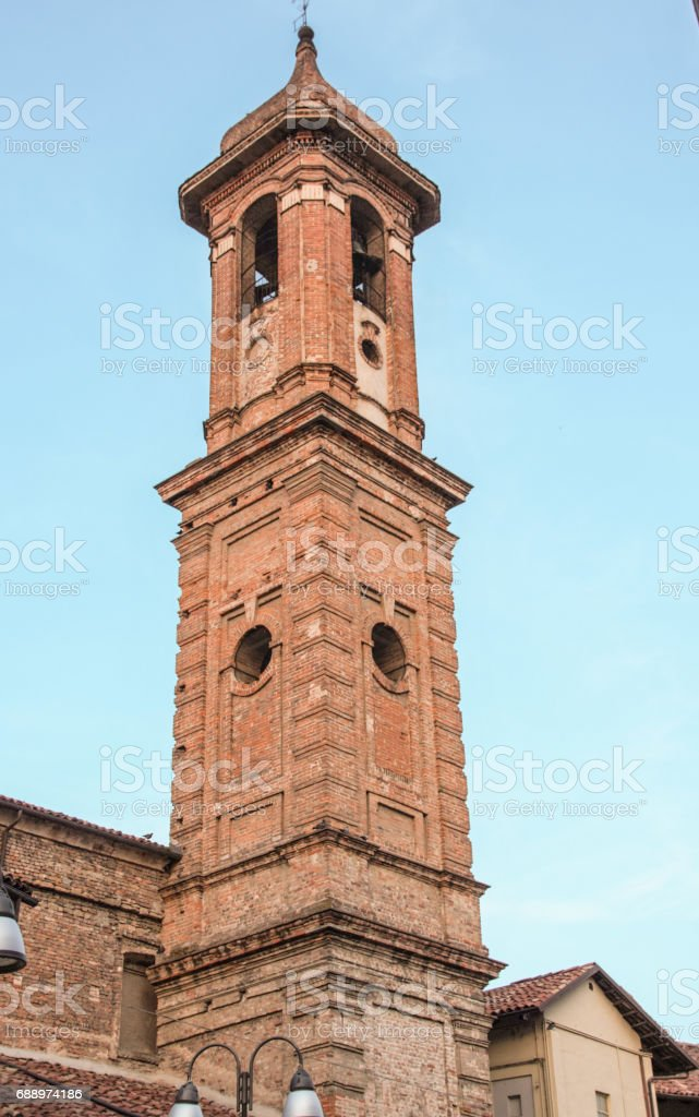 The town of Alba and its towers stock photo