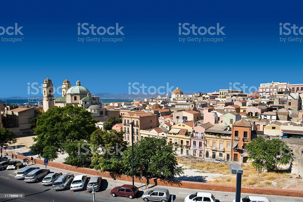 The town of Cagliari in Sardinia in Italy stock photo