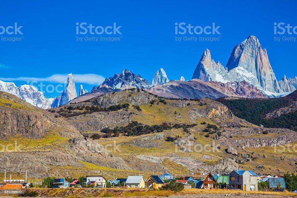 The town of El Chalten stock photo