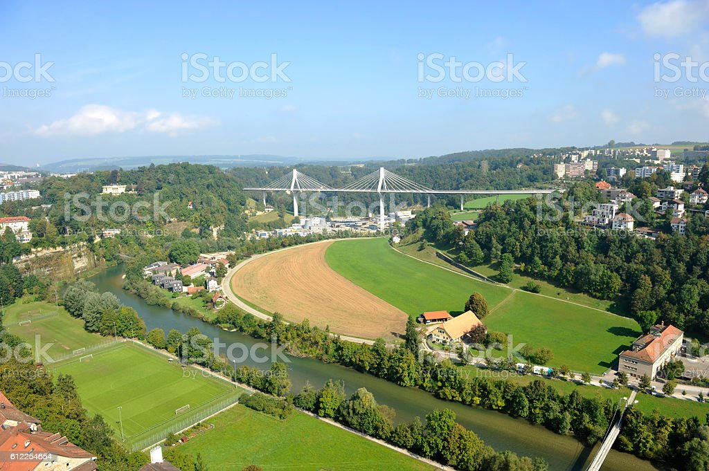 The town of Fribourg and Poya Bridge stock photo