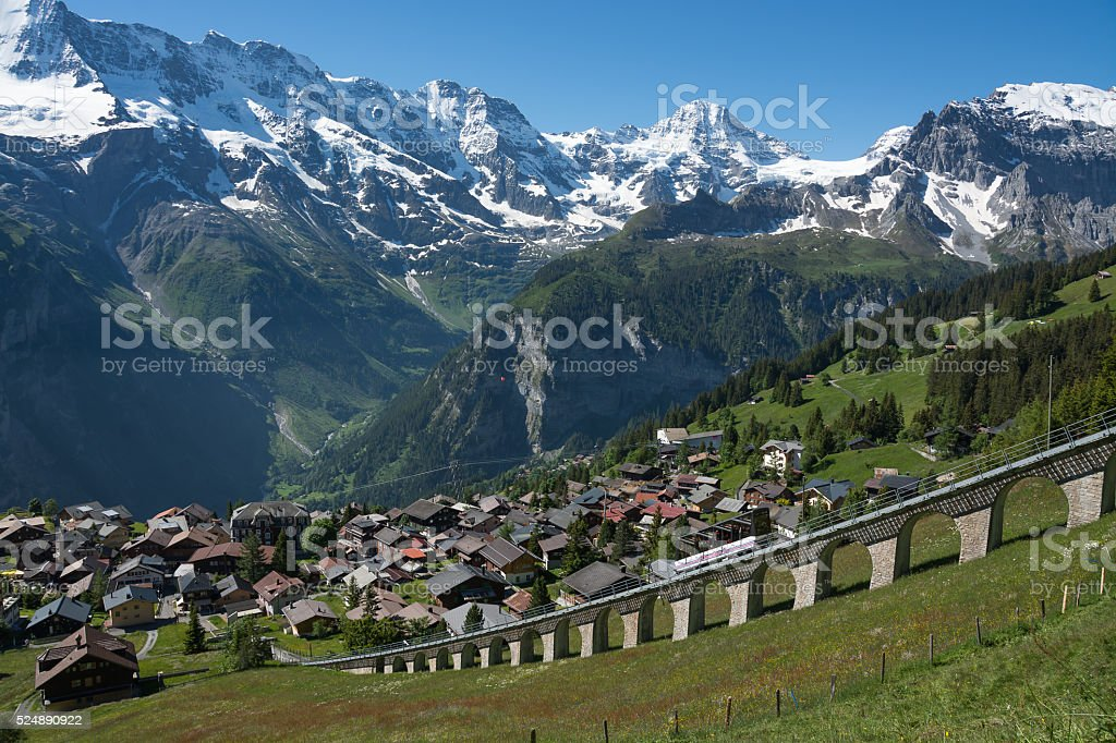 The town of Murren, Switzerland stock photo