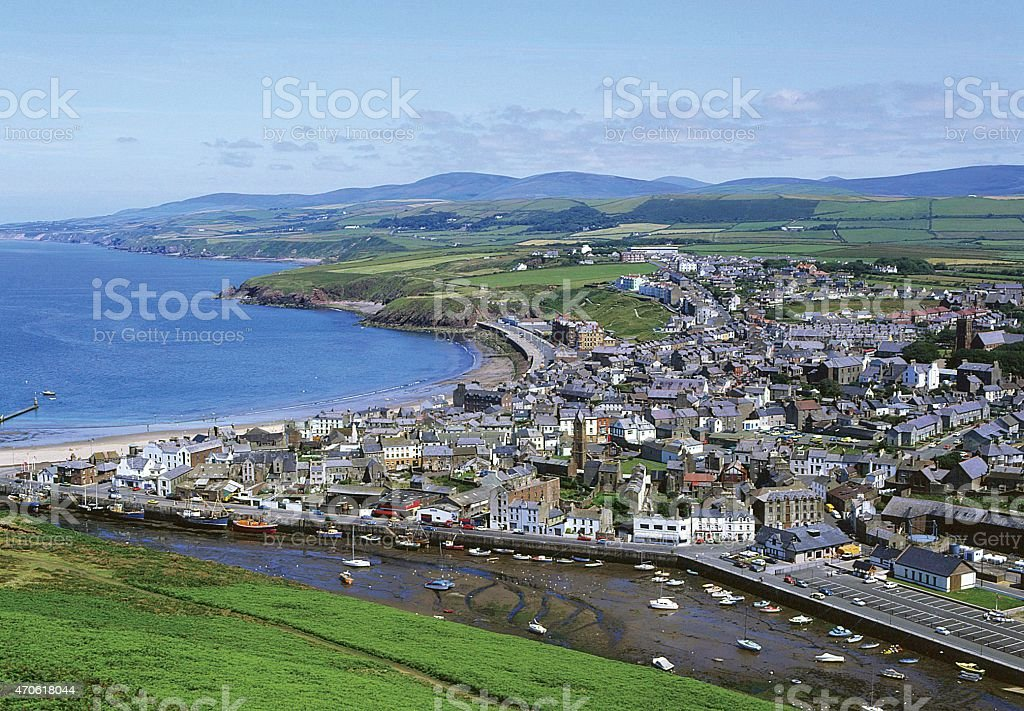 The town of Peel on the Isle of Man in the Irish Sea. stock photo