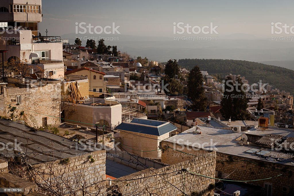 The town of Safed in northern Israel stock photo