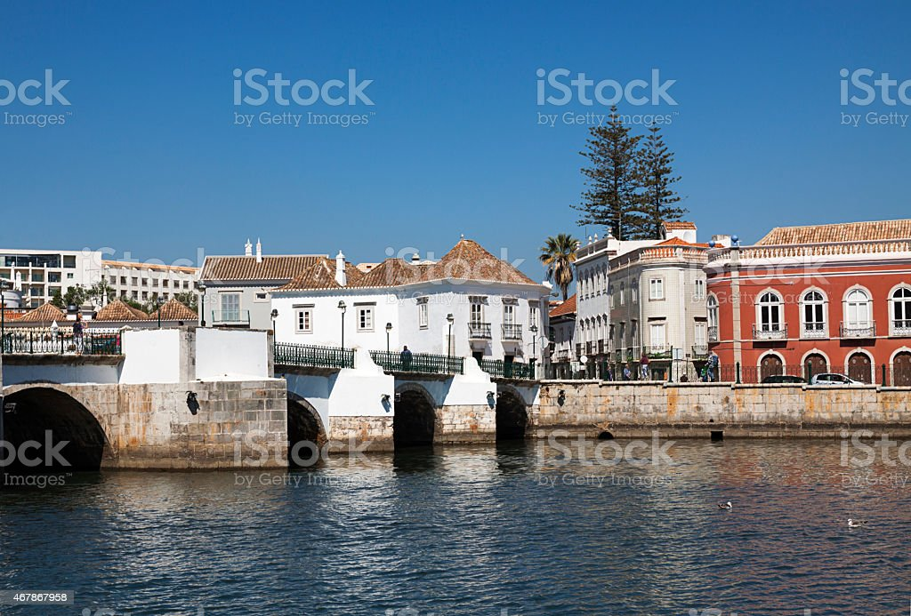 The town of Tavira in Algarve province Portugal stock photo