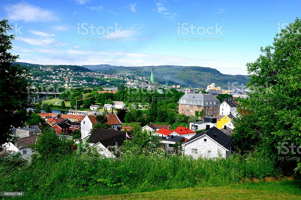 The town of Trondheim stock photo