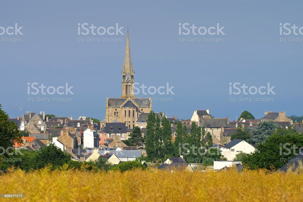 the town Pleneuf-Val-Andre in Brittany, France stock photo