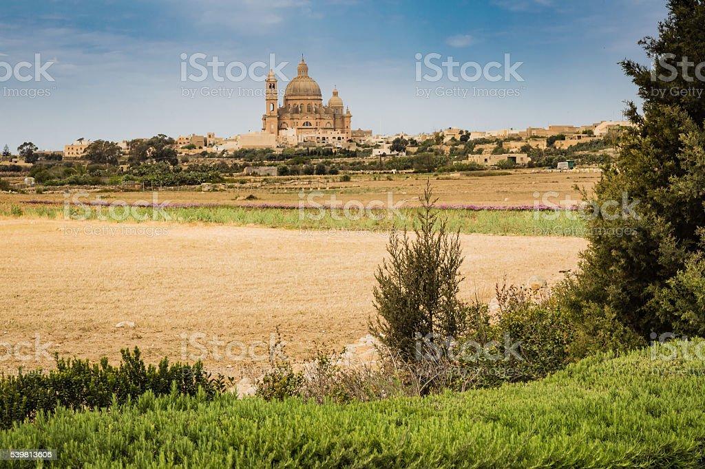 The town Xewkia on the Maltese islands Gozzo. stock photo