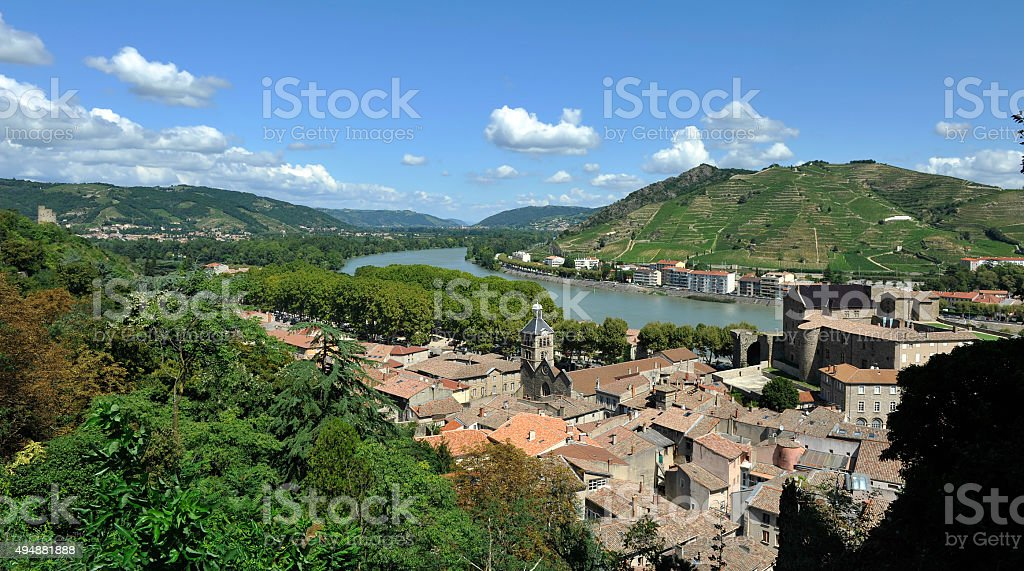 The towns of Tournon-sur-Rhône and Tain l'Hermitage stock photo