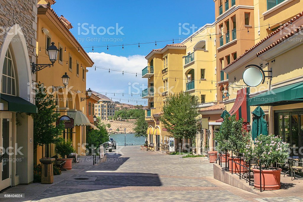 The townscape of shopping street stock photo