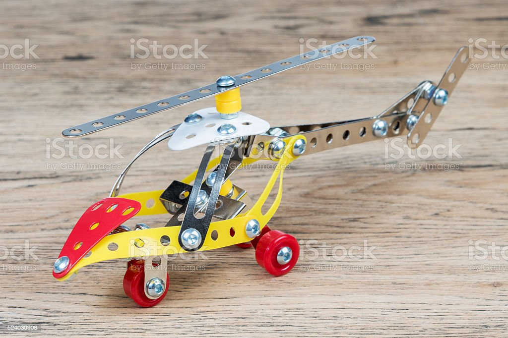 The toy metal helicopter stock photo