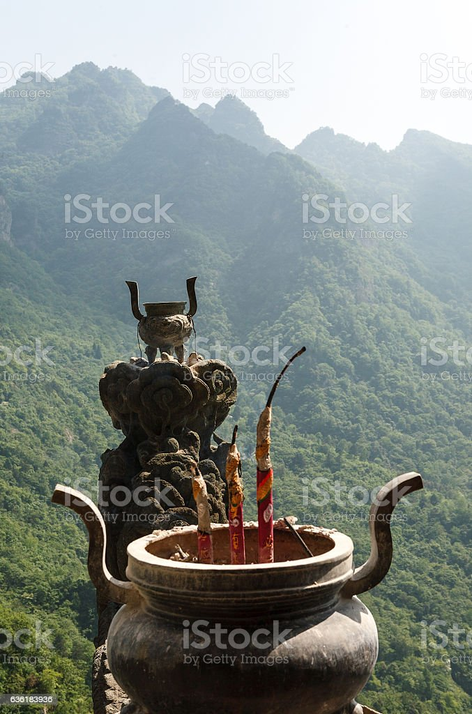 The traditional bowl-incense burner stock photo