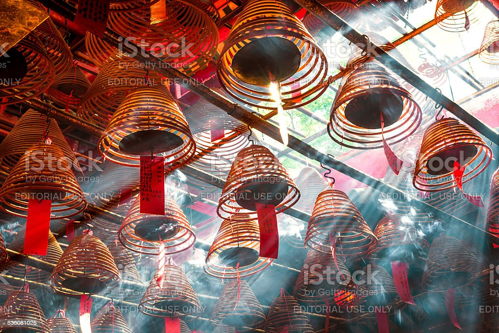 The traditional chinese taoism temple interior scene.in Hong kong, stock photo