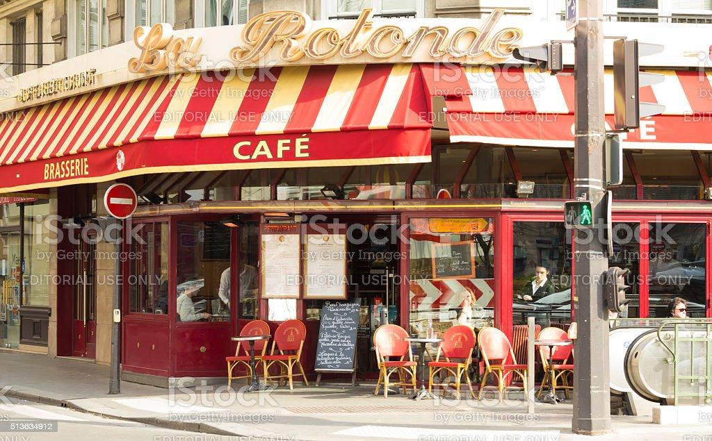 The traditional french cafe La Rotonde Trinite, Paris, France. stock photo