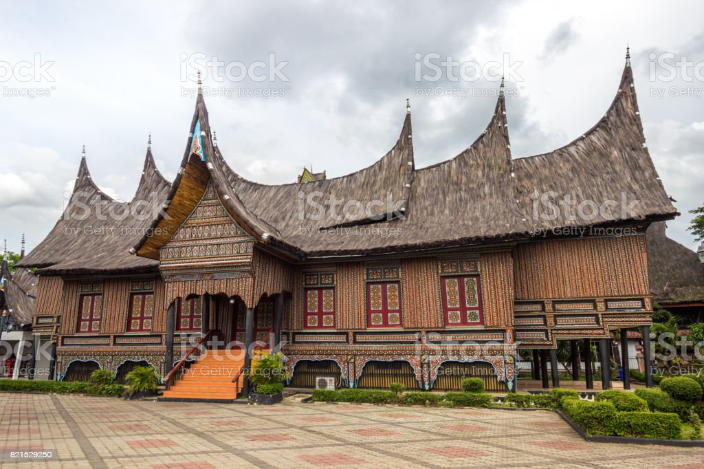 The traditional house of Indonesia, Replica traditional house western Sumatra, Padang stock photo