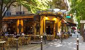 The traditionnal french cafe Le Cepage Montmartrois, Paris, France.
