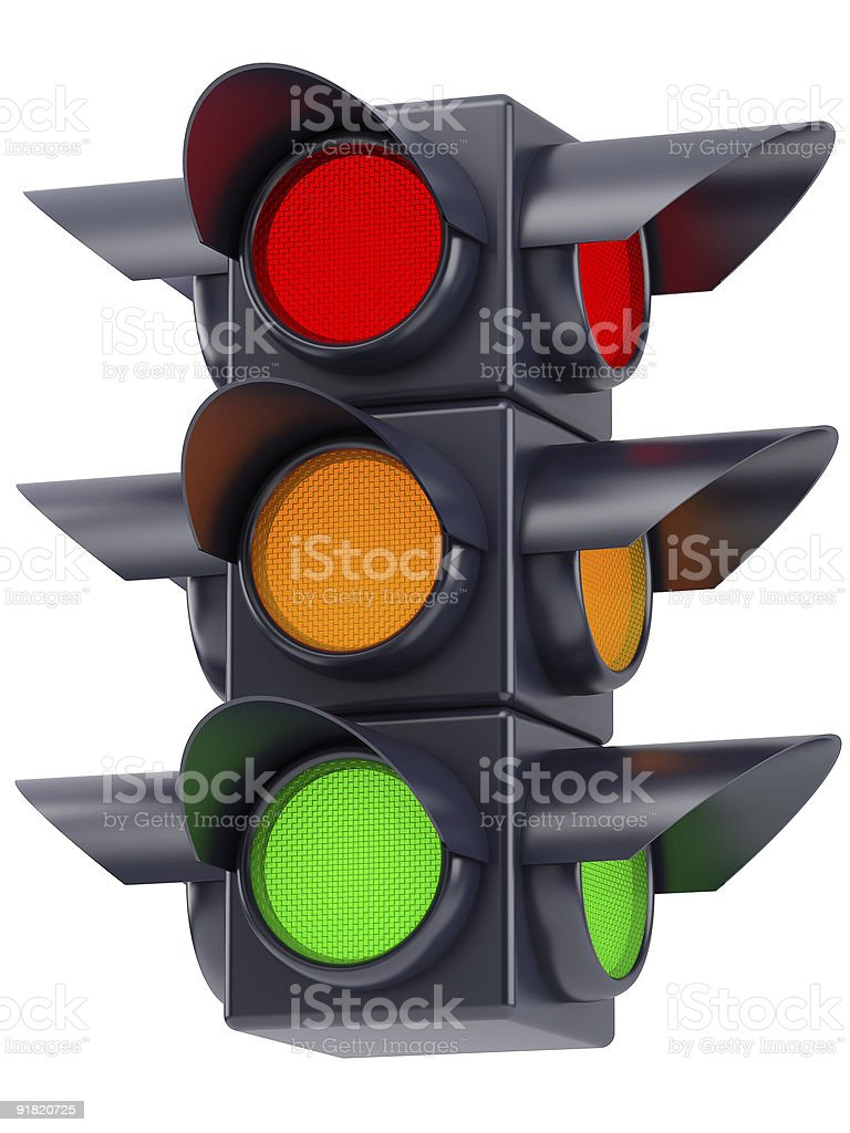 the traffic lights on white background royalty-free stock photo