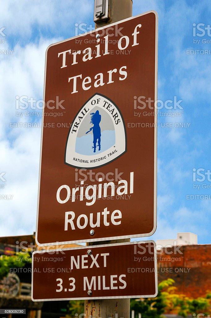 The Trail of Tears Original route sign in Chattanooga, Tennessee stock photo