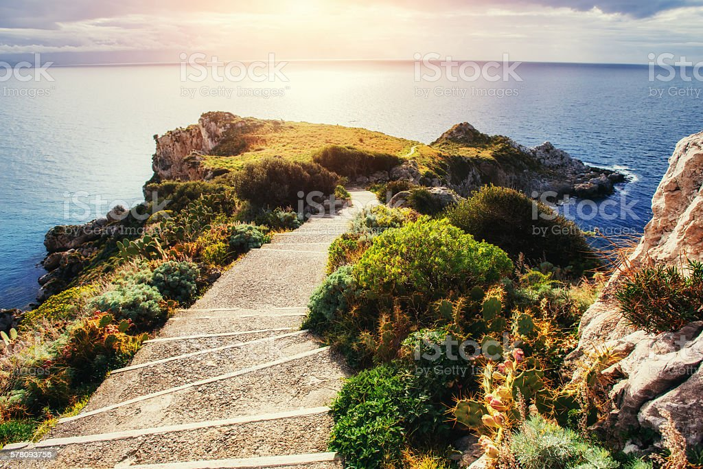 The trail on the hillside by the sea. stock photo