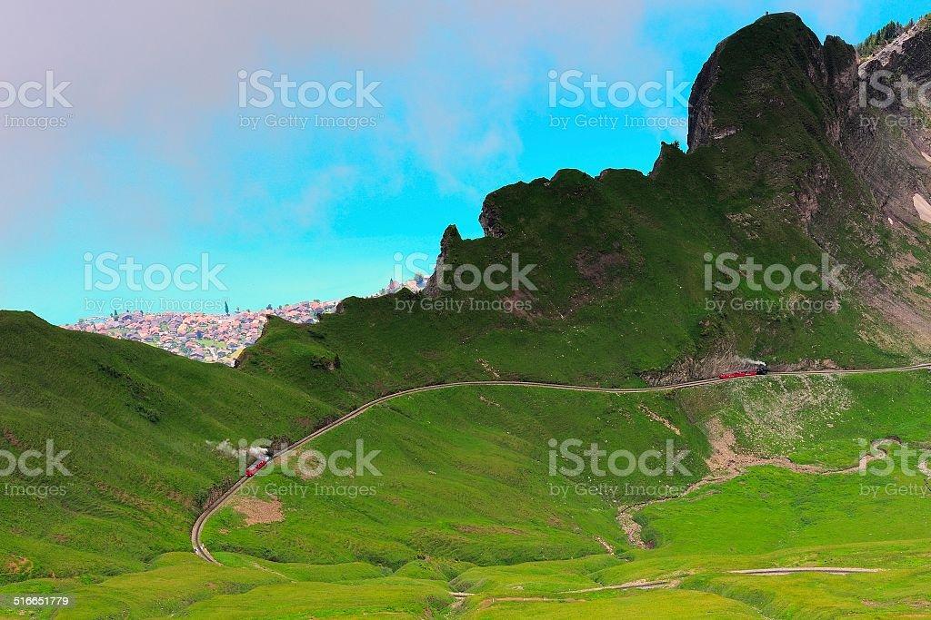 The train goes through a ridge in Switzerland 03 stock photo