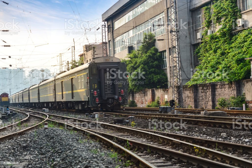 The train is on the railway stock photo
