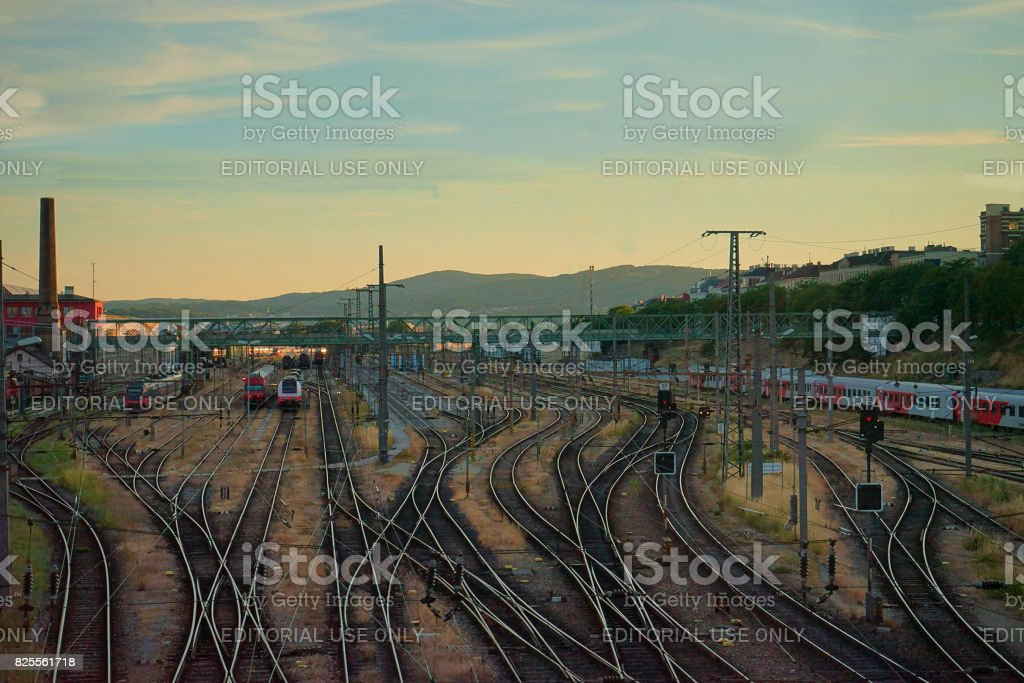 The train junction in Vienna during sunset stock photo