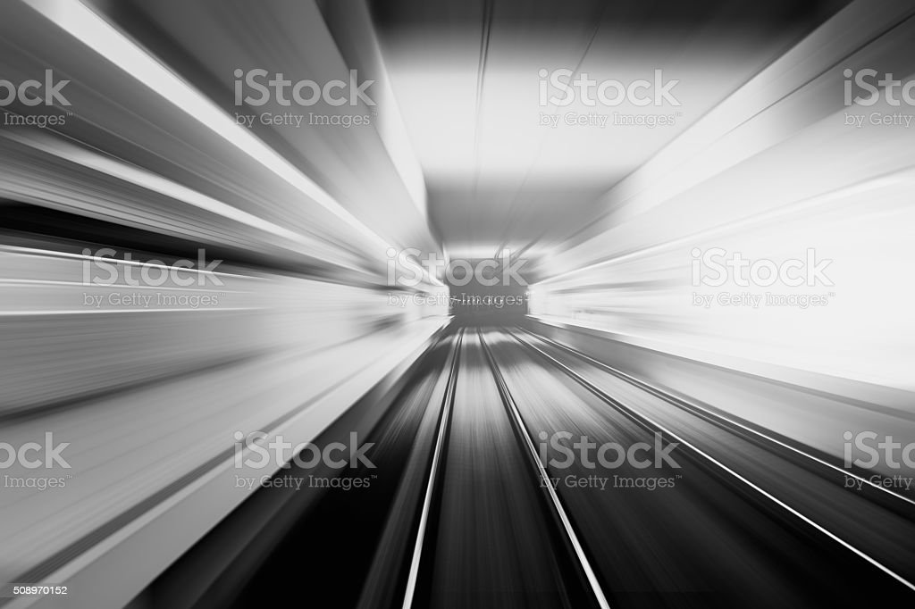 The train passes through the tunnel stock photo