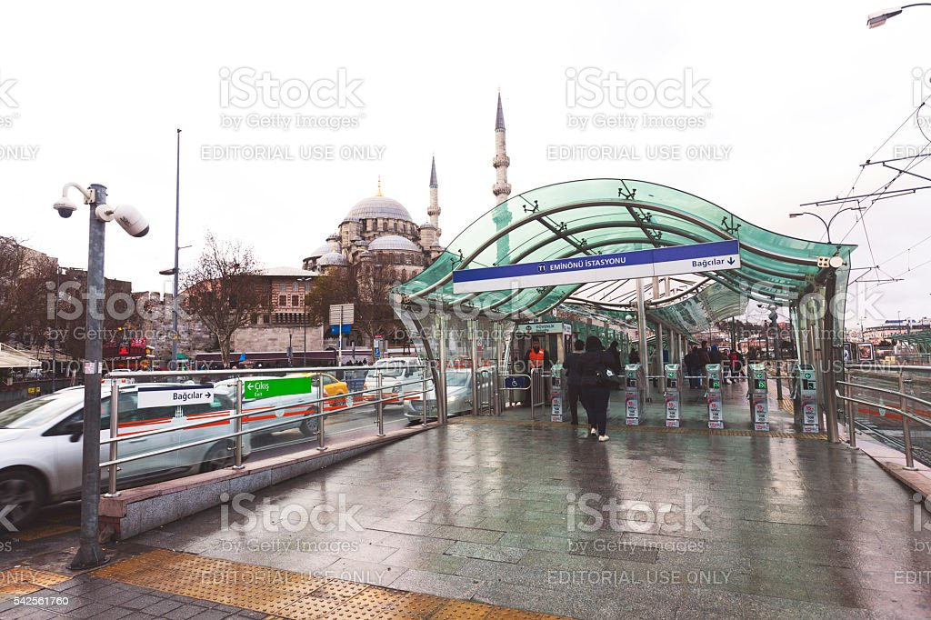 The tram line station in Istanbul,Turkey. stock photo