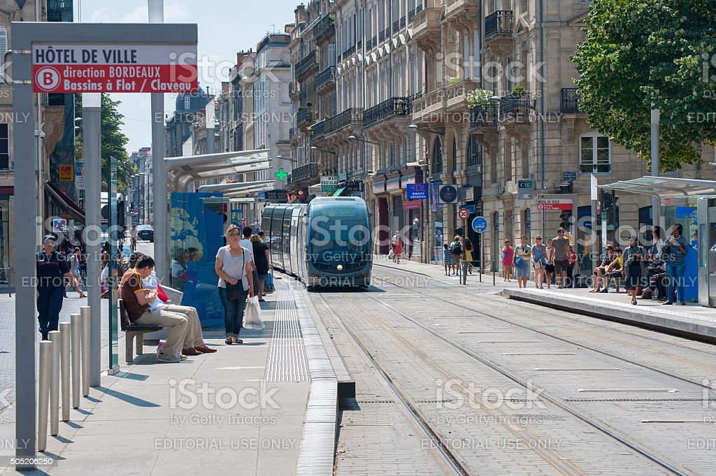 The tram stop at Place Pey-Berland Bordeaux. stock photo