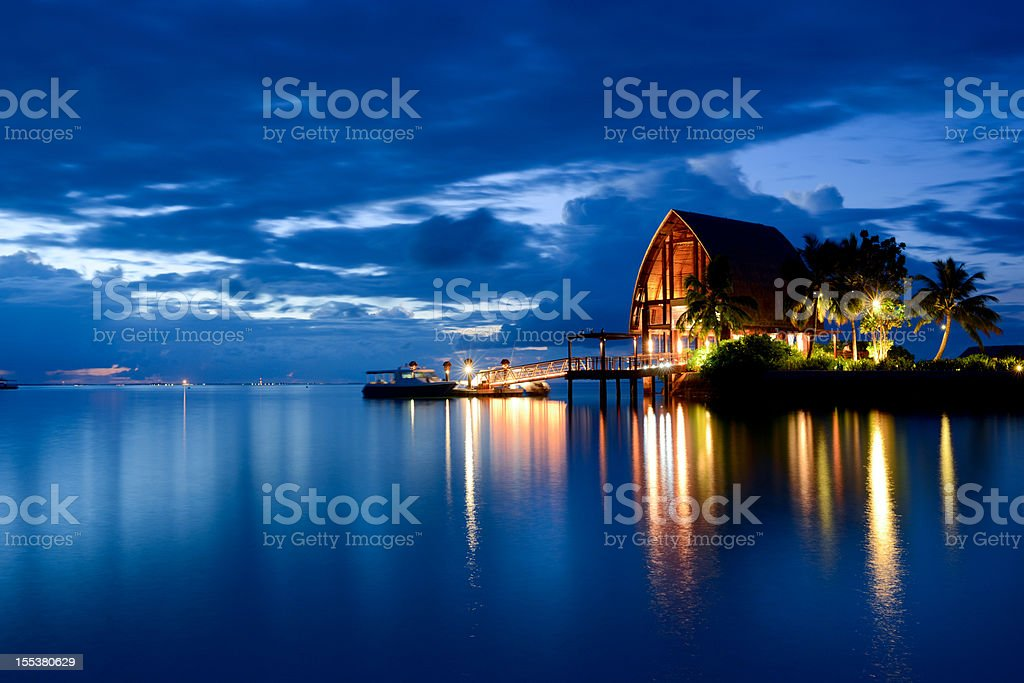 The Tranquil Night and Beautiful Seascape of Maldives stock photo