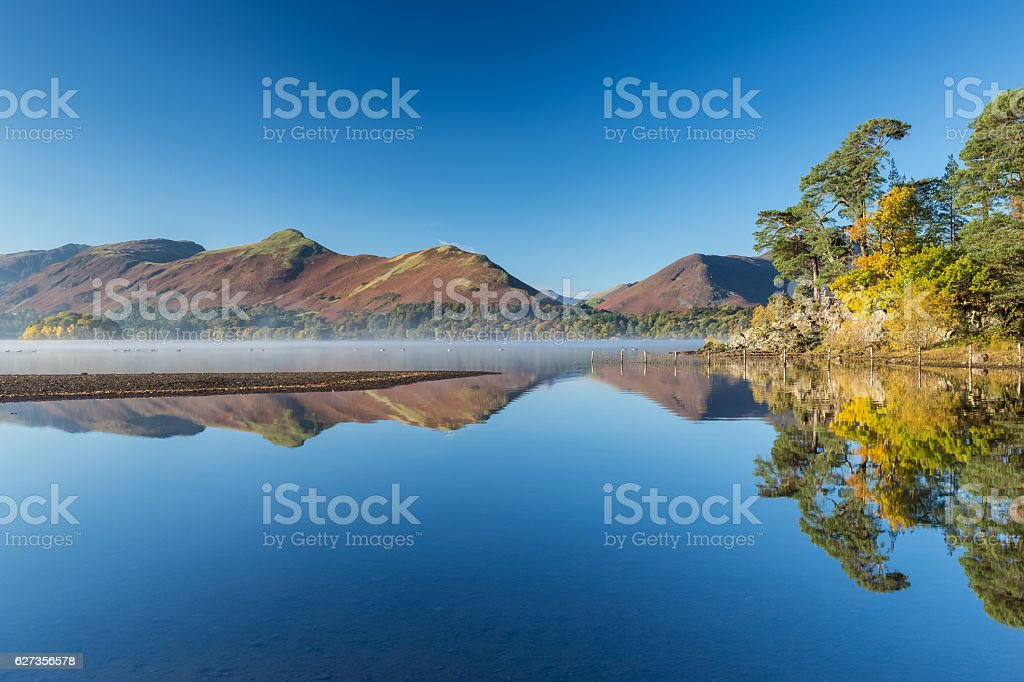 The tranquility of Derwentwater at Keswick stock photo