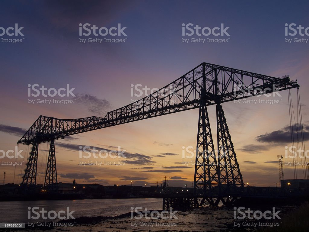 The Transporter Bridge, Teesside, at sunset royalty-free stock photo