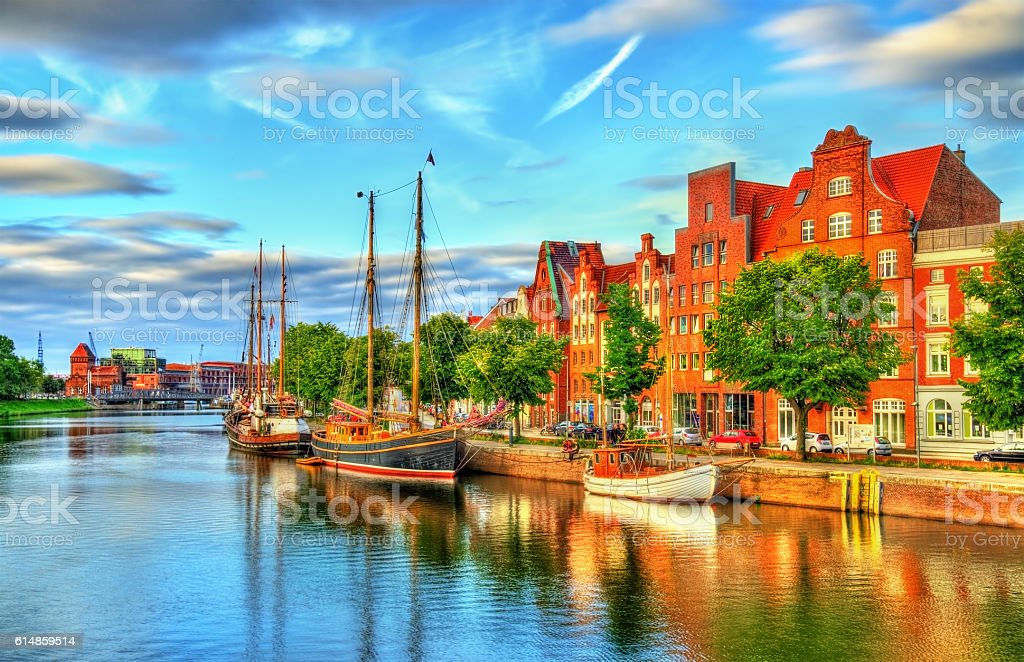 The Trave River in Lubeck - Germany stock photo